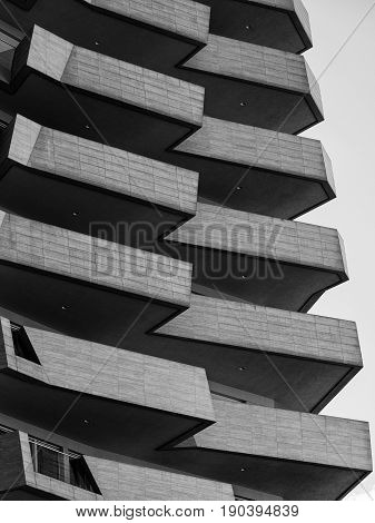 MILAN, ITALY - APRIL 17, 2017: Milan (Lombardy Italy): modern residential buildings in the new Citylife area (Tre Torri). Black and white