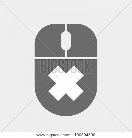 Isolated Computer Mouse With An Irritating Substance Sign