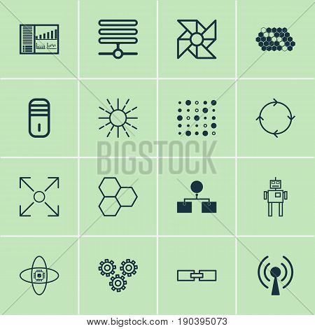 Machine Icons Set. Collection Of Analysis Diagram, Laptop Ventilator, Lightness Mode And Other Elements. Also Includes Symbols Such As Cooler, Wireless, Loop.