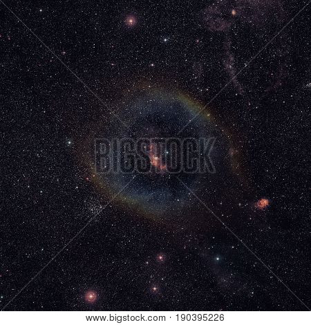 Wide-field Image Of The Bubble Nebula. Ground-based Image.