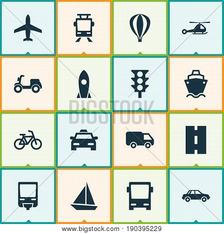 Transportation Icons Set. Collection Of Automobile, Skooter, Yacht And Other Elements. Also Includes Symbols Such As Streetcar, Car, Chopper.