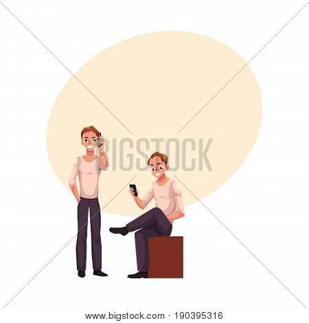 Young man talking by mobile phone standing, using smartphone, messaging sitting, cartoon vector illustration with space for text. Young man using mobile phone while standing and sitting