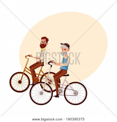 Old and young man, father and son, grandfather and grandson, riding bicycle, cycling together, cartoon vector illustration with space for text. Old and young men, tourists riding bicycles