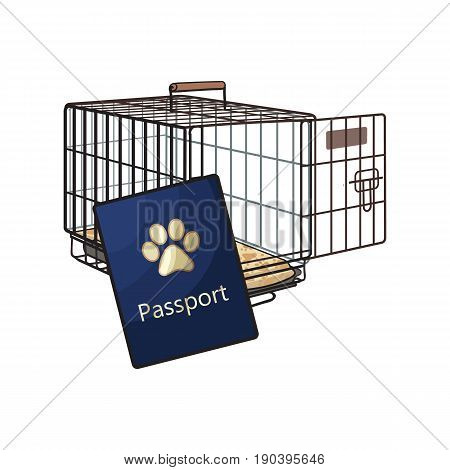 Travel with cats, dogs - metal wire carrier and pet passport, sketch vector illustration isolated on white background. Hand drawn metal wire pet carrier, crate, cage and passport, id for cats and dogs