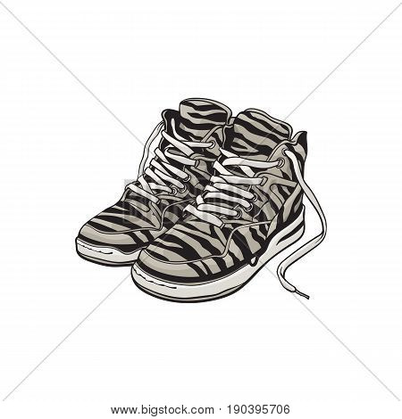 Pair of zebra patterned sneakers, sport shoes from 90s, sketch vector illustration isolated on white background. Hand drawn pair of old fashioned, retro style sneakers from nineties, 90s pop culture