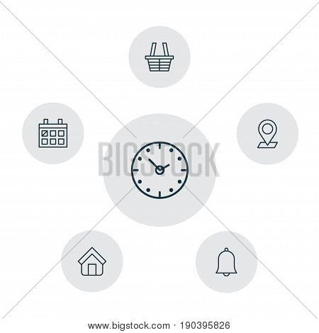 Icons Set. Collection Of Calendar, Time, Pinpoint And Other Elements. Also Includes Symbols Such As Shopping, In, Alarm.