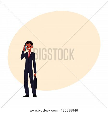 Black, African American businessman standing, talking by phone, holding briefcase, cartoon vector illustration with space for text. Black businessman, worker, employee talking by phone