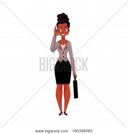 Young black, African American businesswoman with briefcase calling, talking by mobile phone, cartoon vector illustration isolated on white background. Black businesswoman standing, talking by phone