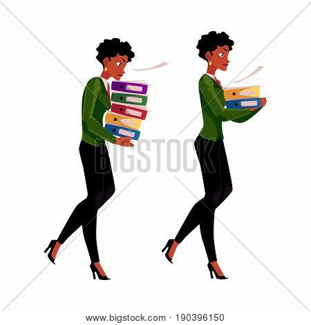 Black, African businesswoman carrying pile of document folders, normal and heavy workload concept, cartoon vector illustration isolated on white background. Black businesswoman with document folders