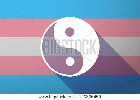 Long Shadow Transgender Flag With A Ying Yang