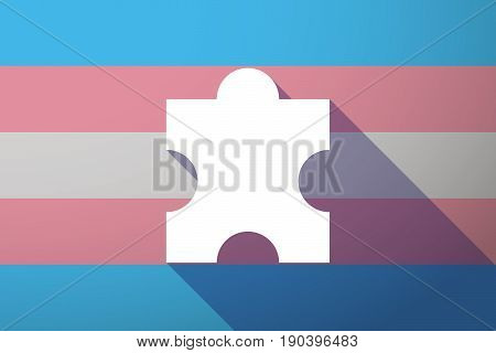 Long Shadow Transgender Flag With A Puzzle Piece