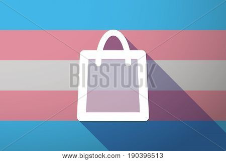 Long Shadow Transgender Flag With A Shopping Bag