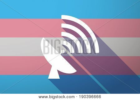 Long Shadow Transgender Flag With A Satellite Dish