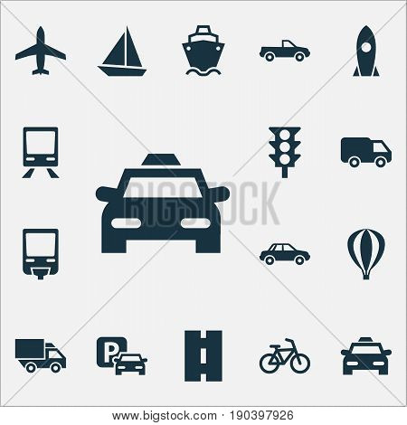 Shipment Icons Set. Collection Of Cabriolet, Road Sign, Railroad And Other Elements. Also Includes Symbols Such As Yacht, Van, Airship.