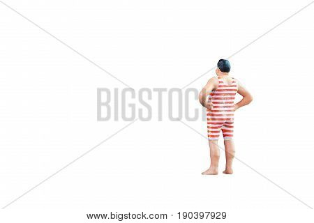 Close Up Of Miniature Fat People Isolated With Clipping Path On White Background. Elegant Design Wit