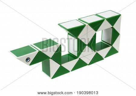 Plastic toy snake isolated on white background