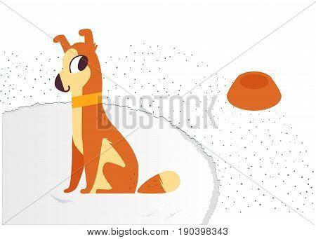 Cute dog near bowl of dog food. On a fluffy carpet. vector illustration
