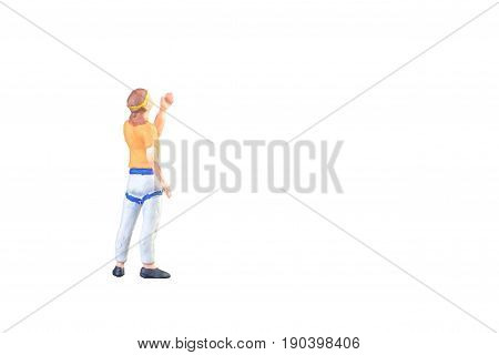 Close Up Of Miniature People Doing Climbing Sport Isolated With Clipping Path On White Background.el