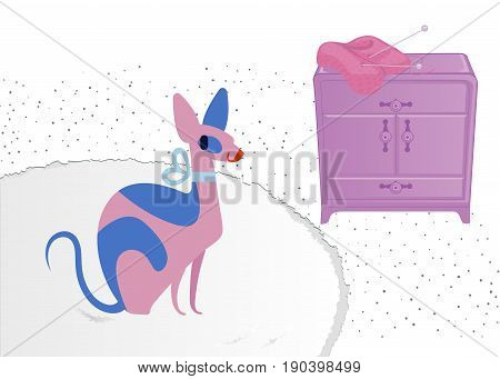 Sphynx cat vector. Funny glamorous cat with blue eyes in a living room. Vector illustration