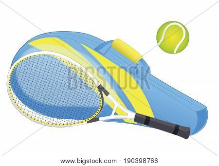 Tennis racket tennis ball sport equipment racket cover. isolated on white. Vector illustration