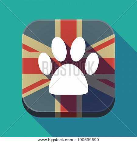 Long Shadow Button With An Animal Footprint