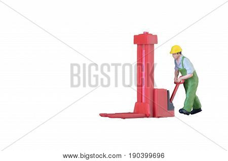 Miniature Worker People With Lifting Tools Isolated With Clipping Paht On White Background. Elegant