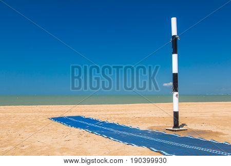 closeup of Modern public shower on the beach