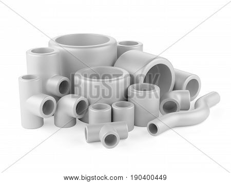 Pipe fittings set on a white background. 3d high resolution illustration.