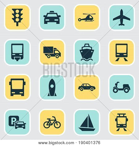 Shipment Icons Set. Collection Of Chopper, Omnibus, Railway And Other Elements. Also Includes Symbols Such As Helicopter, Truck, Auto.