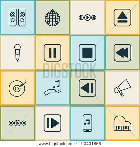 Multimedia Icons Set. Collection Of Dance Club, Following Music, Bullhorn And Other Elements. Also Includes Symbols Such As Pause, Gramophone, Stop.