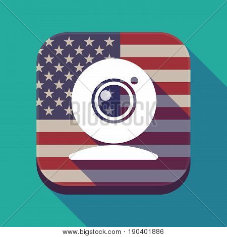 Long Shadow Usa App Button With A Web Cam