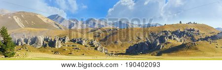 Panoramic image of beautiful Castle Hill in the morning between Darfield and Arthur's Pass South Island of New Zealand
