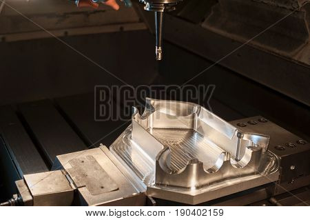 Industrial steel mold/ blank milling. Metalworking and mechanical engineering. CNC technology.