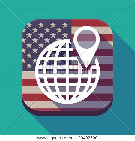Long Shadow Usa App Button With A World Globe