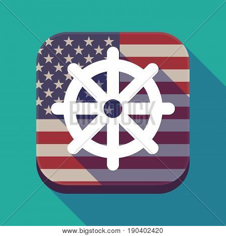 Long Shadow Usa App Button With A Dharma Chakra Sign