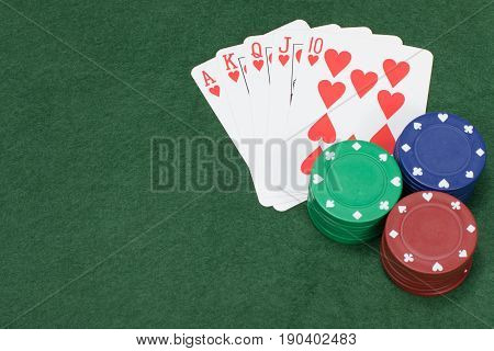 Poker Chips Colored Green Blue And Red On Table