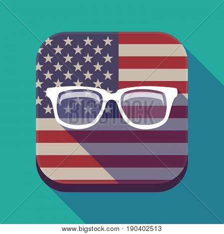 Long Shadow Usa App Button With A Glasses