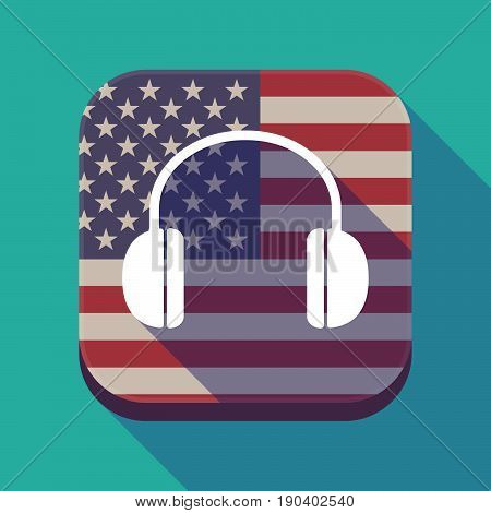 Long Shadow Usa App Button With A Earphones