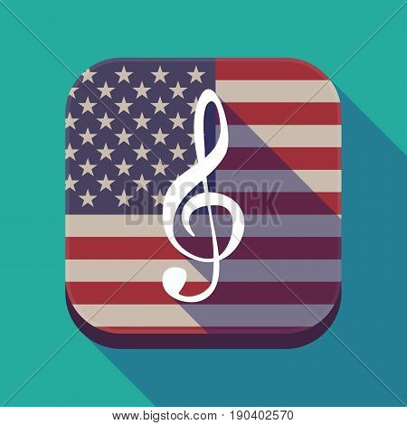 Long Shadow Usa App Button With A G Clef