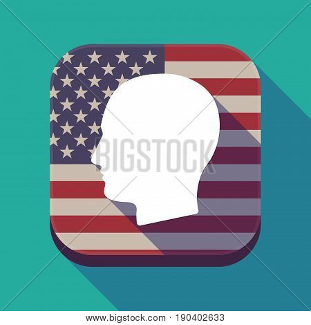 Long Shadow Usa App Button With A Male Head