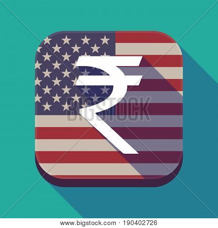 Long Shadow Usa App Button With A Rupee Sign