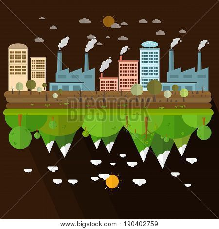 The different of Environmentally landscape factory and forest on brown background Vector illustration
