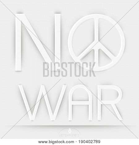 Peace and No war on white Background Vector illustration
