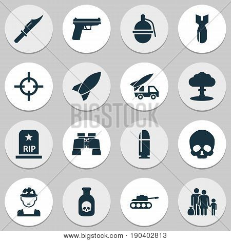 Warfare Icons Set. Collection Of Bombshell, Ordnance, Atom And Other Elements. Also Includes Symbols Such As Head, People, Scalper.