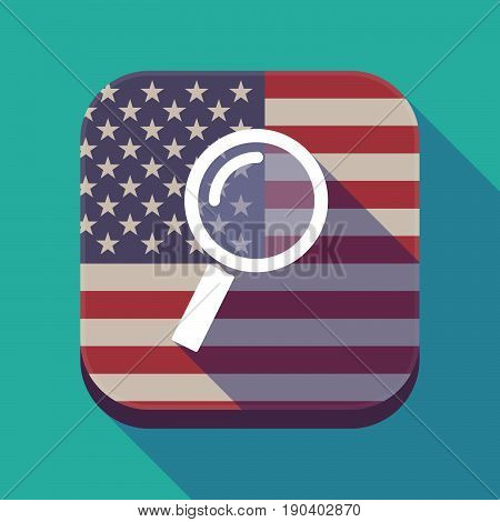 Long Shadow Usa App Button With A Magnifier