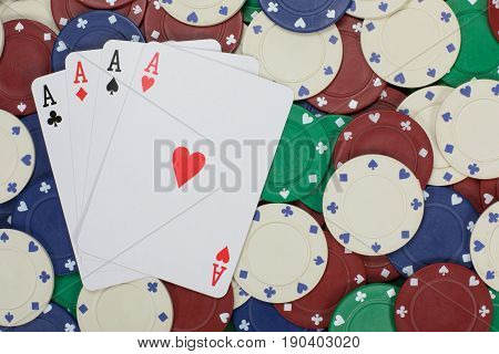 Large Wager Of Poker Chips Create Background