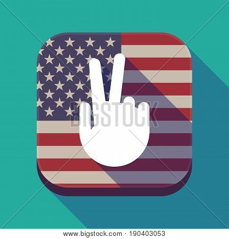 Long Shadow Usa App Button With A Victory Hand