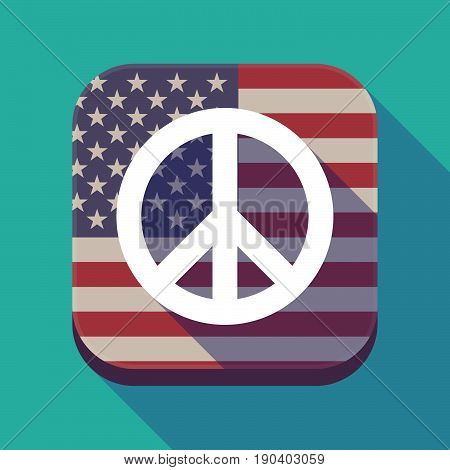 Long Shadow Usa App Button With A Peace Sign