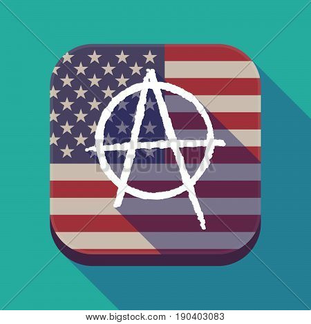 Long Shadow Usa App Button With An Anarchy Sign