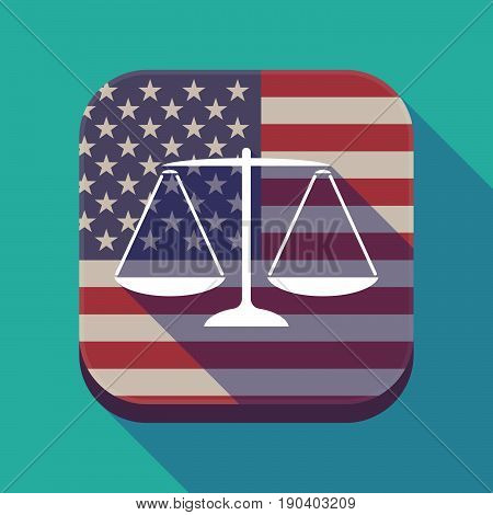 Long Shadow Usa App Button With A Justice Weight Scale Sign